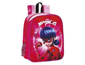 CARTERA ESCOLAR SAFTA LADYBUG MARINETTE MOCHILA GUARDERIA ADAPTABLE A CARRO 220X270X100 MM
