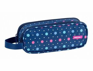 PORTATODO DOBLE SAFTA DOTS BLUE