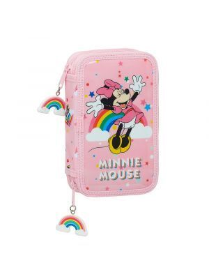ESTUCHE DOBLE LLENO SAFTA MINNIE MOUSE RAINBOW 125X40X195 MM