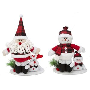 PAPA NOEL Y MUÑECO NIEVE PIE SCOTTISH 22CM SURT.