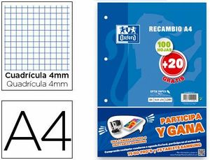 RECAMBIO 4X4 MM A4 100+20 HJ 90 GR OXFORD