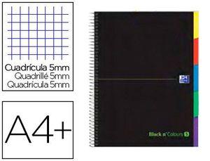 CUADERNO ESPIRAL OXFORD EBOOK 5 TAPA EXTRADURA A4+ 100 HJ CON SEPARADORES CUADRICULA 5 MM BLACK'N