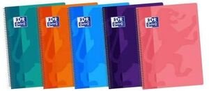 CUADERNO ESPIRAL 4X4 MM Fº 80 HJ 90 GR OXFORD T/ PP COLORES TENDENCIA