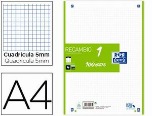 RECAMBIO OXFORD VERDE 5X5 MM A4 100 HJ 90 GR 4 TAL