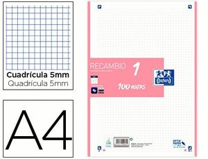 RECAMBIO OXFORD 5X5 MM A4 100 HJ 90 GR 4 TAL ROSA CHICLE