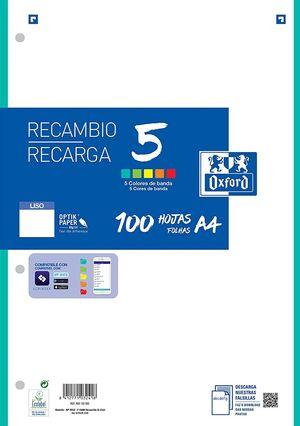 RECAMBIO LISO A4 100 HJ 90 GR 4 TAL 5 COLORES BANDA OXFORD