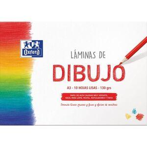 SOBRE 10 LAMINAS DIBUJO OXFORD LISO A3 130 GR