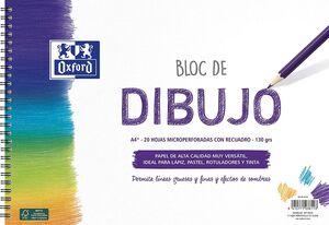 BLOC ESPIRAL DIBUJO ESCOLAR OXFORD CON RECUADRO A4+ 20 HJ 130G MICROPERFORADO