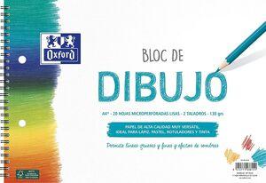 BLOC ESPIRAL DIBUJO ESCOLAR OXFORD LISO A4+ 20 HJ 130G 2 TALADROS MICROPERFORADO