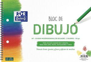 BLOC ESPIRAL DIBUJO ESCOLAR OXFORD CON RECUADRO A4+ 20 HJ 130G 2 TALADROS MICROPERFORADO