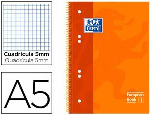 CUADERNO ESPIRAL 5X5 MM A5 120 HJ 90GR TE OXFORD COLORES