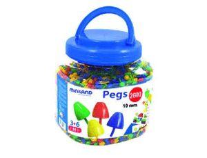JUEGO MINILAND PEGS BOTE DE 2600 PIEZAS DE 10 MM