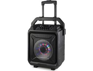 ALTAVOZ DAEWO TROLLEY KARAOKE MICROFONO INALAMBRICO LUCES LED RADIO FM USB MICRO SD AUX-IN POTENCIA