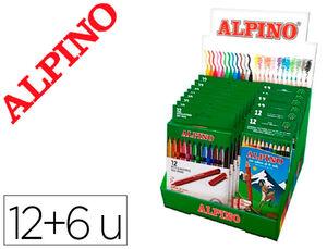 ROTULADOR ALPINO STANDARD CAJA DE 12 COLORES EXPOSITOR DE 12 UNIDADES + 6 CAJAS LAPICES DE COLORES ALPINO 654