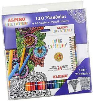 SET 24 LAPICES COLOR ALPINO EXPERIENCE + LIBRO 120 MANDALAS PARA COLOREAR.