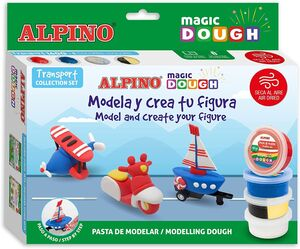 SET ALPINO MAGIC DOUGH TRANSPORT 160 G 5 COLORES