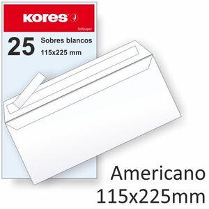 PAQUETE 25 SOBRES BLANCOS 115X225 90 GR CIERRE TIRA SILICONA FSC KORES