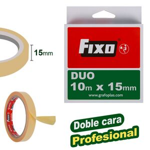 CINTA ADHESIVA DOBLE CARA FIXO DUO 15MM X 10M