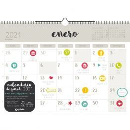 CALENDARIO PARED A3 CON PEGATINAS CASTELLANO GRIS 2021