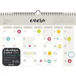 CALENDARIO PARED A4 CON PEGATINAS CASTELLANO GRIS 2021
