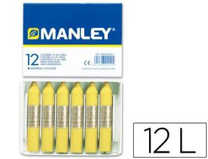 CAJA 12 CERAS MANLEY UNICOLOR  AMARILLO CLARO Nº 47