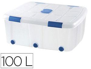 CONTENEDOR PLASTICO PLASTICFORTE 100 LITROS N 15 TRANSPARENTE CON TAPA 330X800X600 MM