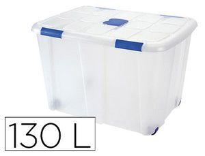 CONTENEDOR PLASTICO PLASTICFORTE 130 LITROS N 16 TRANSPARENTE CON TAPA 480X740X540 MM