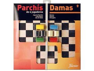 PARCHIS CON DAMAS TABLERO GRANDE 4 JUGADORES 41X40X4,5