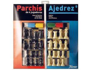 PARCHIS CON AJEDREZ TABLERO GRANDE 4 JUGADORES 41X40X4,8