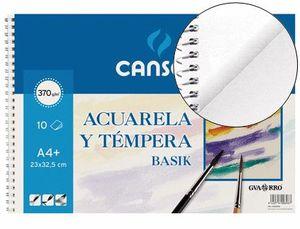 BLOCK DIBUJO CANSON ACUARELA Y TEMPERA A4 10 HJ 370 GR