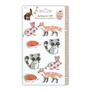 SET 8 STICKERS 3D ANIMALES SCRAP AND COQUETTE