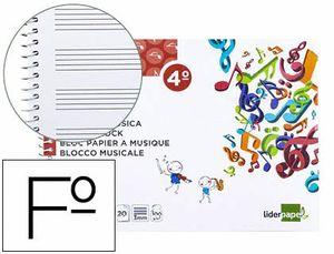 CUADERNO MUSICA LIDERPAPEL PENTAGRAMA 3MM 4º 20 HJ
