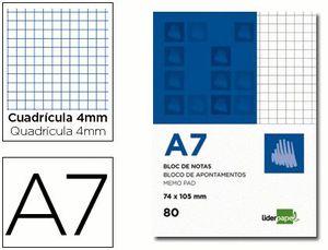 BLOC NOTAS LIDERPAPEL CUADRO 4MM A7 80 H