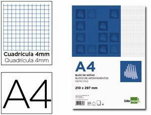 BLOC NOTAS LIDERPAPEL CUADRO 4MM A4 80 HOJAS 60G/M2