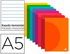 LIBRETA LIDERPAPEL 360 RAYADO PP A5 48 HJ 90 GR COLORES SURTIDOS