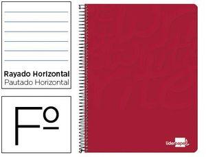 CUADERNO ESPIRAL LIDERPAPEL FOLIO WRITE TAPA BLANDA 80H 60GR HORIZONTAL CON MARGEN COLOR ROJO