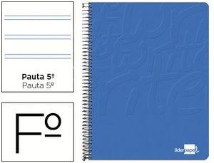 CUADERNO ESPIRAL LIDERPAPEL FOLIO WRITE TAPA BLANDA 80H 60GR PAUTA 2,5 MM CON MARGEN COLOR AZUL
