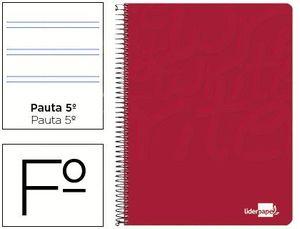 CUADERNO ESPIRAL LIDERPAPEL FOLIO WRITE TAPA BLANDA 80H 60GR PAUTA 2,5 MM CON MARGEN COLOR ROJO