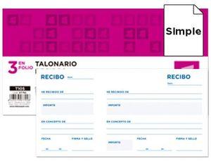 TALONARIO LIDERPAPEL RECIBOS TRES EN FOLIO APAISADO