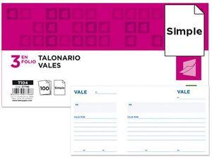 TALONARIO LIDERPAPEL VALES TRES EN FOLIO