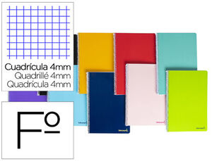 CUADERNO ESPIRAL 4X4 MM Fº SMART T/B 80 HJ 60 GR COLORES SURTIDOS