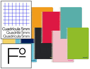 CUADERNO ESPIRAL 5X5 MM Fº SMART T/B 80 HJ 60 GR COLORES SURTIDOS