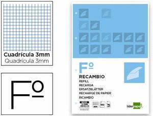 RECAMBIO LIDERPAPEL FOLIO CUAD 3 MM 4T 100 HJ