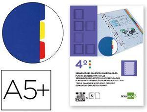 SEPARADOR LIDERPAPEL PLASTICO JUEGO DE 5 SEPARADORES CUARTO 11 TALADROS