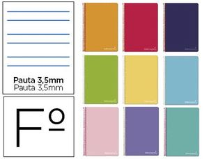 CUADERNO ESPIRAL PAUTA 3,5 MM Fº WITTY T/D 80 HJ 75 GR COLORES SURTIDOS