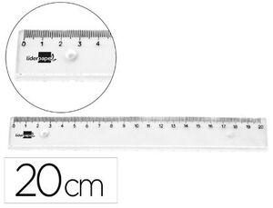 REGLA LIDERPAPEL PLASTICO IRROMPIBLE TRANSPARENTE 20 CM