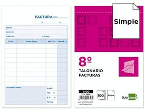 TALONARIO LIDERPAPEL FACTURAS 8º ORIGINAL CON I.V.A.