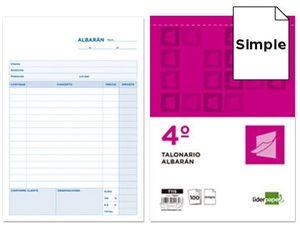TALONARIO LIDERPAPEL ALBARAN CUARTO ORIGINAL T115