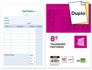TALONARIO LIDERPAPEL FACTURAS 8º ORIGINAL Y COPIA T200 CON I.V.A