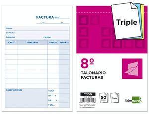 TALONARIO LIDERPAPEL FACTURAS 8º ORIGINAL Y 2 COPIAS T300 CON I.V.A.